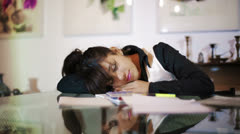 Businesswoman asleep in the conference room - stock footage