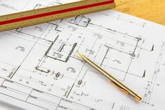 Architecture drawingswith pencil and ruler Stock Photos