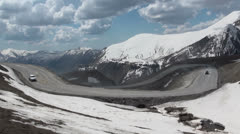 Beautiful mountain pass, traffic, Georgian Military Highway Stock Footage