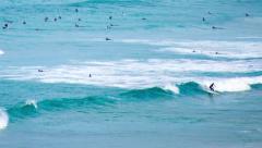 Surfers at Curl Curl CU 177GYCC NTSC Stock Footage