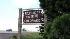 Welcome to Colorado sign Stock Footage