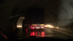 Driving through wet tunnel, Georgian Military Highway Stock Footage