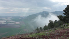 Ancient view from Mount of Gilboa in Israel Stock Footage