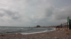 Strong Waves in Caesarea Maritima Shores Timelapse Stock Footage