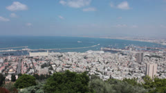 Bay of Haifa Panoramic View, Holy Land, Israel Stock Footage