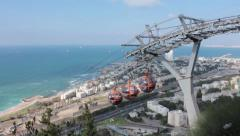 Cable Car in Haifa, from Mount Carmel to Mediterranean Shore Stock Footage
