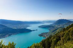view of the annecy lake from  col du forclaz - stock photo