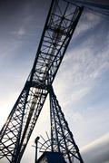 looking up at a transporter bridge - stock photo