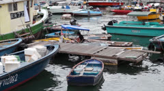 Working on a Boat in Sai Kung marina.mp4 Stock Footage