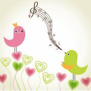 Birds couple in love. Vector illustration Stock Illustration