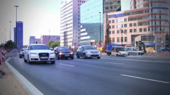 Timelapse - Traffic in street Warsaw - stock footage