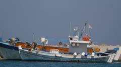 Fishing boats in Kefalos Stock Footage