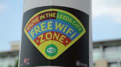 Wifi sign, leeds, england Stock Footage