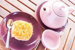 sweet break set of hot tea and cup cake - stock photo