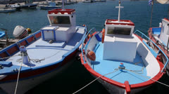 Fishing boats in Kefalos, simple structure, Stock Footage