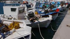 Fishing boats in Kefalos harbour, Kos, Greece. Stock Footage