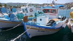 Fishing boats in Kefalos, Kos Stock Footage