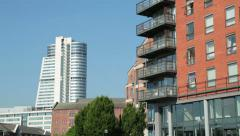 Leeds, bridgewater place and riverside apartments, england - stock footage