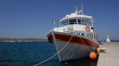 The Kamari ii, a tourist boat moored in Kefalos, Kos Stock Footage