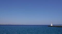 Seamless loop of the Aegean sea with a sea wall, Kefalos Stock Footage