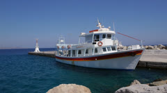 The Kamari ii, a tourist boat moored in Kefalos, Kos Stock Footage