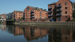 Leeds, housing development at langtons wharf, river aire, englan - stock footage
