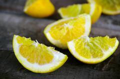 lemon quarters - stock photo