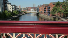 Leeds, crown point bridge and waterfront housing developments - stock footage