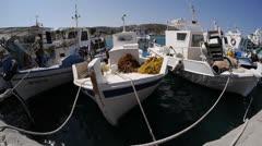 Fishing boats in Kefalos, Fisheye. Stock Footage