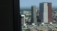 The Hague city center skyline, urban office buildings de Resident + pan Stock Footage