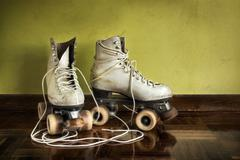 old roller-skates - stock photo