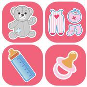 Basic - Baby icons - stock illustration