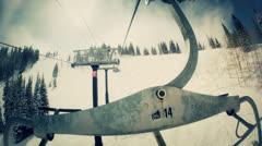 Mountain resort ski lift chair Stock Footage
