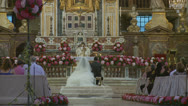 Stock Video Footage of Traditional wedding in large Roman church 4 (slomo)