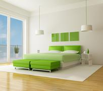 Stock Illustration of green bedroom