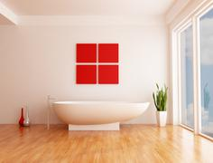minimalist bathroom - stock illustration