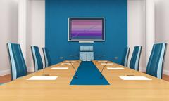 blue boardroom - stock illustration