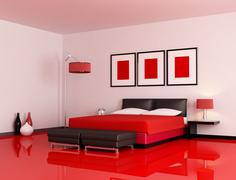modern red and black bedroom - stock illustration