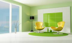 contemporary green and white lounge - stock illustration