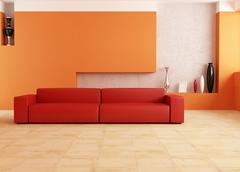 red and orange living room - stock illustration