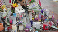 Stock Video Footage of Boston Marathon Bombing Memorial