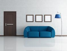 blue and gray interior - stock illustration