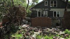 Detroit Abandoned Blight House Ghetto Burnout Ruin Bankruptcy Fire War Aftermath - stock footage