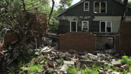 Stock Video Footage of Destroyed abandoned house in Detroit