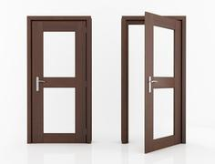 Wood door with glass Stock Illustration