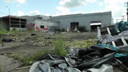 Stock Video Footage of Detroit Abandoned Business Industrial Burnout Ruin Bankruptcy Fire War Aftermath