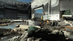 Detroit Abandoned Blight Industrial Building Burnout Ruin Bankruptcy Fire Stock Footage
