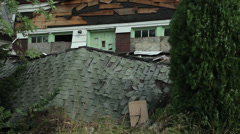 Stock Video Footage of Fallen Roof of Abandoned House Detroit Porch Blight Decrepit