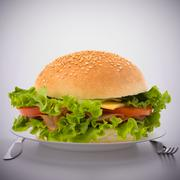 Fast food big sandwich  on plate Stock Photos