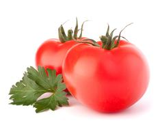 Two tomato vegetables and parsley leaves still life Stock Photos